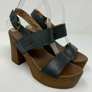 Musse & Cloud Lieza Black Leather Platform Sandals